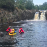 Hydrospeeding near waterfall on the River Tees