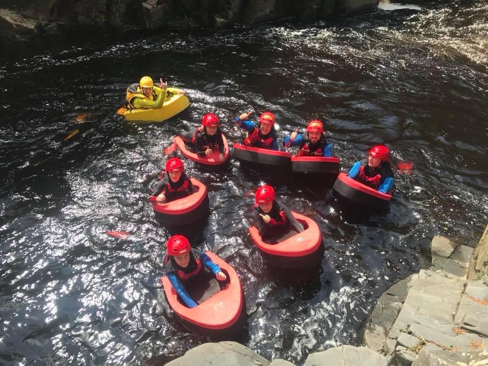 Hydrospeeding group on the river