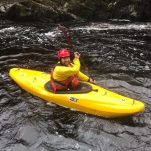 Lee, instructor with Hydrospeeding UK, on the River Tees